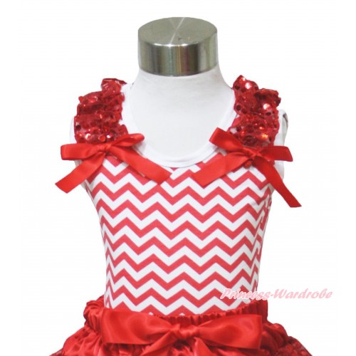 Xmas Red White Chevron Tank Top Red Sequins Ruffles Red Bows TP95