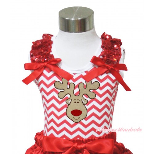 Xmas Red White Chevron Tank Top Red Sequins Ruffles Red Bow & Christmas Reindeer Print TP96