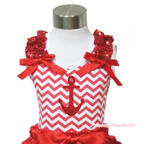 Red White Chevron Tank Top Red Sequins Ruffles Red Bow & Sparkle Red Anchor Print TP97