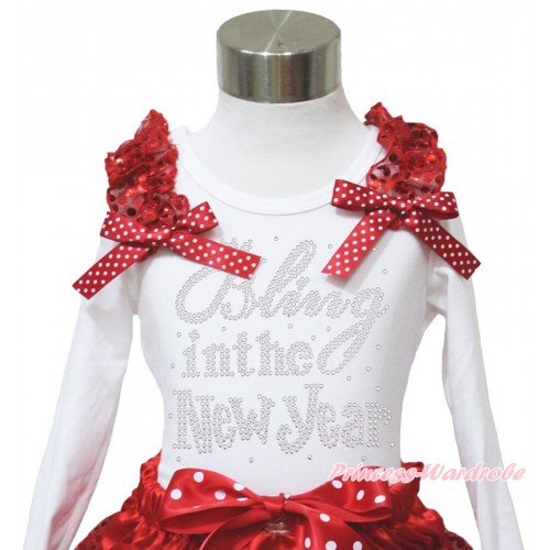 White Long Sleeves Top Red Sequins Ruffles Minnie Dots Bow & Sparkle Rhinestone Bling In The New Year TW540