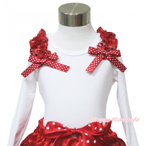 Xmas White Long Sleeves Top Red Sequins Ruffles Minnie Dots Bow TW541