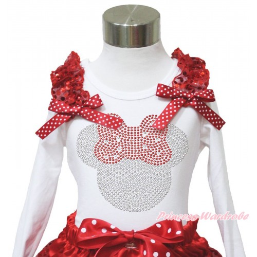 Xmas White Long Sleeves Top Red Sequins Ruffles Minnie Dots Bow & Sparkle Rhinestone Red Minnie TW542