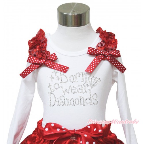 White Long Sleeves Top Red Sequins Ruffles Minnie Dots Bow & Sparkle Rhinestone Born To Wear Diamonds TW543
