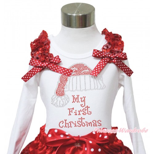 Xmas White Long Sleeves Top Red Sequins Ruffles Minnie Dots Bow & Sparkle Rhinestone Christmas Hat TW544