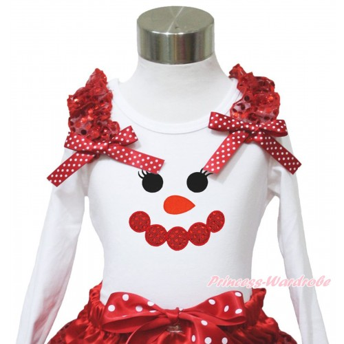 Xmas White Long Sleeves Top Red Sequins Ruffles Minnie Dots Bow & Sparkle Red Snowman Face TW545