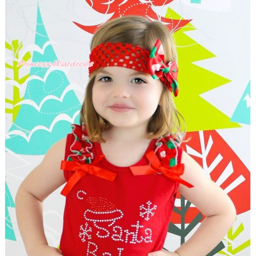 Xmas Red Headband & Red White Green Dots Satin Bow Hair Clip H924