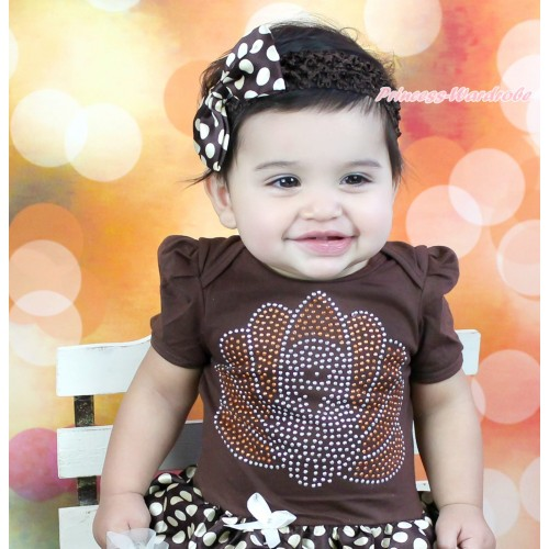 Brown Headband Brown Golden Dots Satin Bow Hair Clip H926