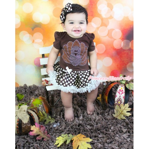 Thanksgiving Brown Baby Bodysuit Brown Golden Dots Pettiskirt & Rhinestone Turkey & Brown Headband Brown Golden Dots Satin Bow JS4006
