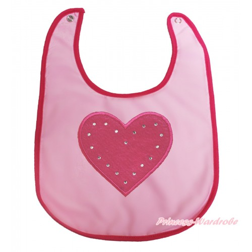 Valentine's Day Light Pink Baby Bib & Hot Pink Heart Print BI02