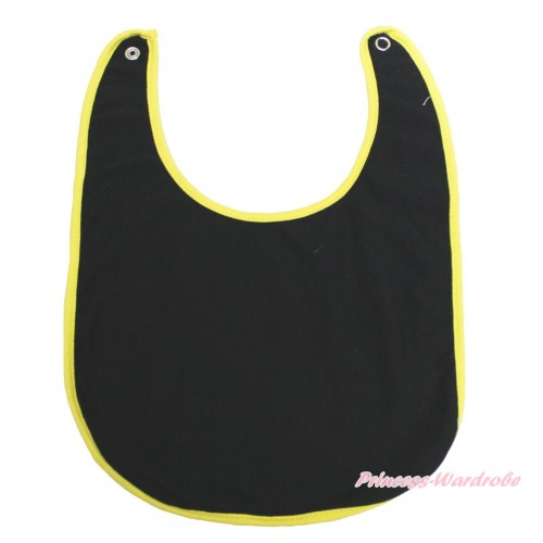 Plain Style Yellow Piping Black Newborn Baby Bib BI31