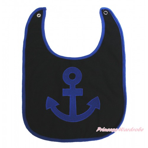 Royal Blue Piping Black Baby Bib & Royal Blue Anchor Print BI33