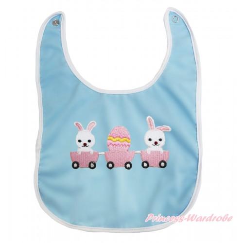 Easter Light Blue Baby Bib & Bunny Rabbit Egg Print BI37
