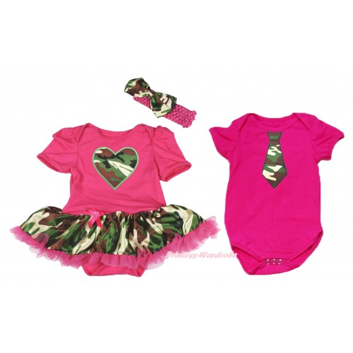Hot Pink Bodysuit Camouflage Hot Pink Pettiskirt & Camouflage Heart & Hot Pink Headband Camouflage Satin Bow Match Hot Pink Jumpsuit & Camouflage Tie JS4222
