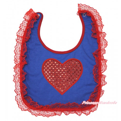 Valentine's Day Red Lace Royal Blue Baby Bib & Sparkle Red Heart Print BI06