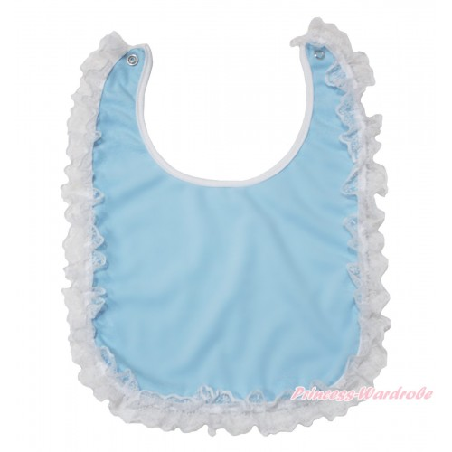 White Lace Light Blue Newborn Baby Bib BI09