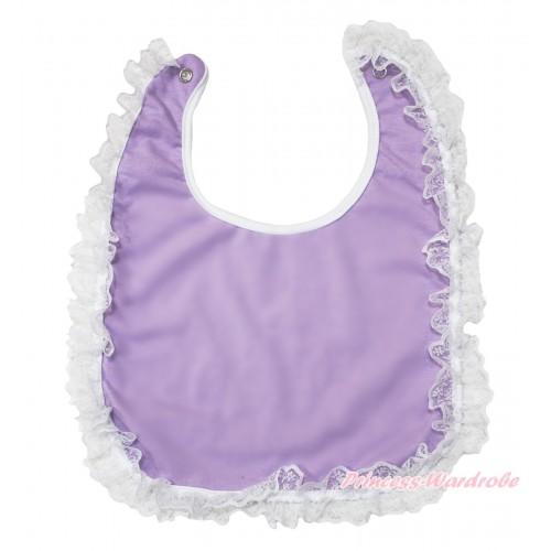 White Lace Lavender Newborn Baby Bib BI10