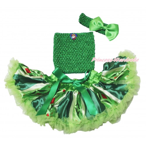 Frozen Princess Anna Green Coronation Baby Pettiskirt,Anna Heart Kelly Green Crochet Tube Top,Kelly Green Headband Silk Bow 3PC Set CT688