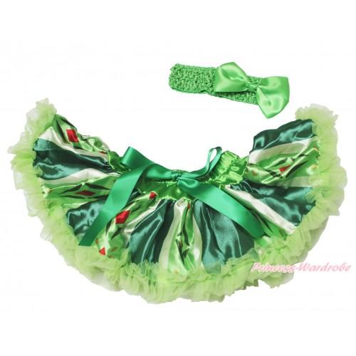 Frozen Princess Anna Green Coronation Newborn Pettiskirt & Light Green Headband Silk Bow N239