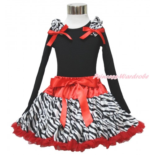 Black Long Sleeve Top Zebra Ruffles Red Bow & Red Zebra Pettiskirt MW619