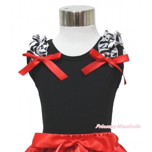 Black Baby Pettitop Zebra Ruffles & Red Bow TB49-1