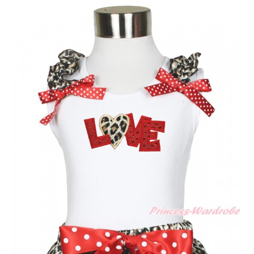 Valentine's Day White Tank Top Leopard Ruffles Minnie Dots Bow & Sparkle Red Leopard Love Print TB995