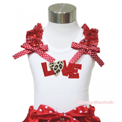 Valentine's Day White Tank Top Red Sequins Ruffles Minnie Dots Bow & Sparkle Red Leopard Love Print TB996