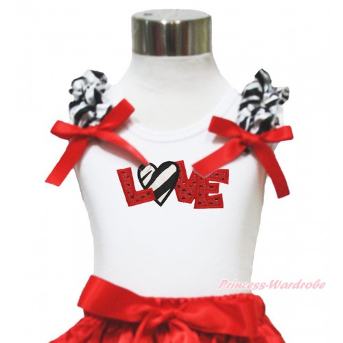 Valentine's Day White Tank Top Zebra Ruffles Red Bow & Sparkle Red Zebra Love Print TB998