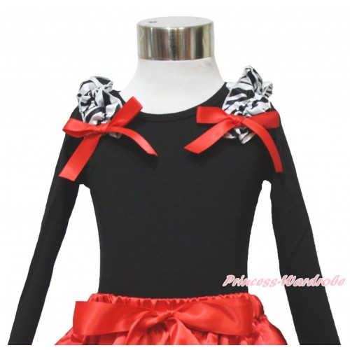 Black Long Sleeves Top Zebra Ruffles Red Bow TO411