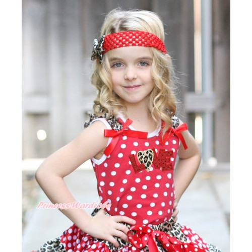 Valentine's Day Minnie Dots Tank Top Leopard Ruffles Red Bow & Sparkle Red Leopard Love Print TP222