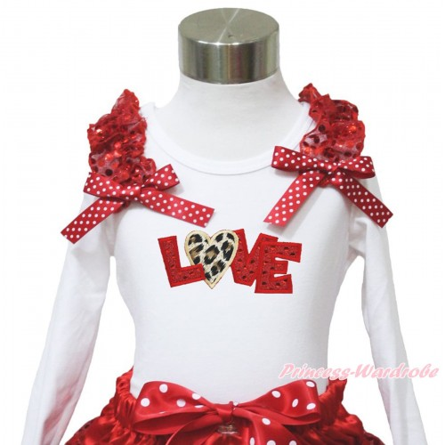 Valentine's Day White Long Sleeves Top Red Sequins Ruffles Minnie Dots Bow & Sparkle Red Leopard Love TW547