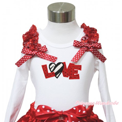 Valentine's Day White Long Sleeves Top Red Sequins Ruffles Minnie Dots Bow & Sparkle Red Zebra Love TW548