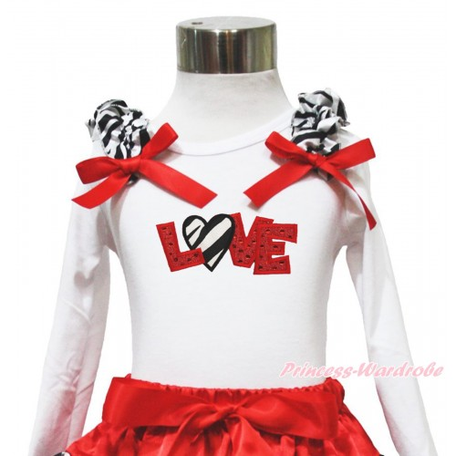 Valentine's Day White Long Sleeves Top Zebra Ruffles Red Bow & Sparkle Red Zebra Love TW549