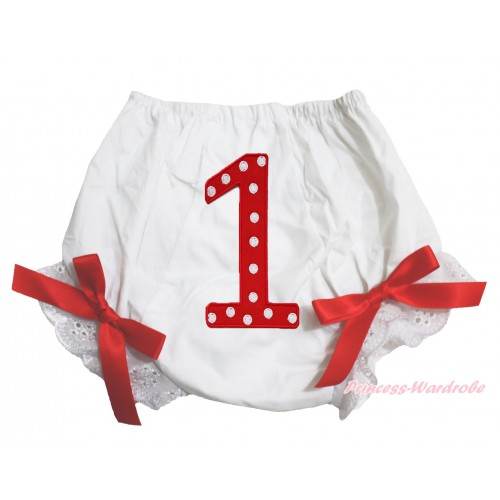 1st Red Polka Dots Birthday Number Panties Bloomers with Red Bow BC64