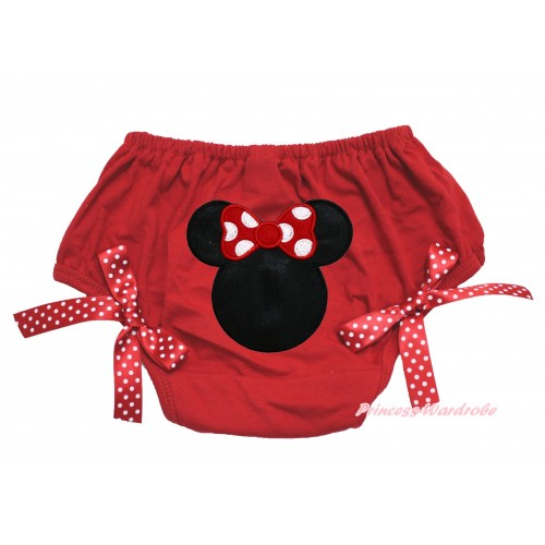 Red Bloomer With Minnie Print & Red White Polka Dots Bow BL74