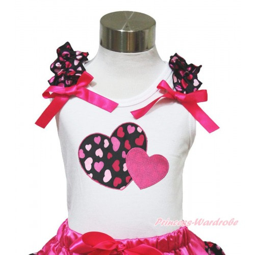 Valentine's Day White Tank Top Hot Light Pink Heart Ruffles Hot Pink Bow & Hot Pink Sweet Twin Heart Print TB641