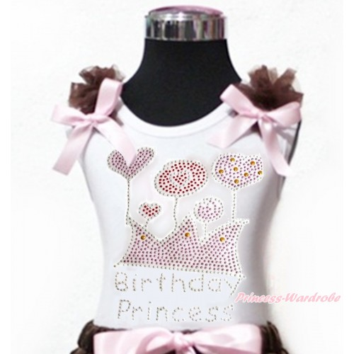 White Tank Top Brown Ruffles Light Pink Bow & Sparkle Rhinestone Birthday Princess TB853