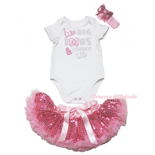 White Baby Jumpsuit & Rhinestone I Like Big Bows Print & Sparkle Bling Light Pink Sequins Newborn Pettiskirt & Light Pink Headband Sequins Bow JN41
