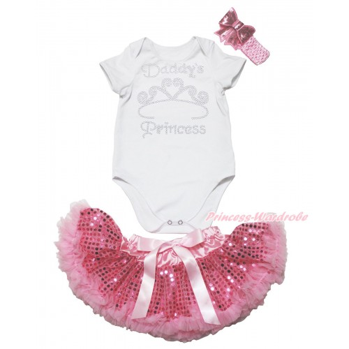 Valentine's Day White Baby Jumpsuit & Rhinestone Daddy's Princess Print & Sparkle Bling Light Pink Sequins Newborn Pettiskirt & Light Pink Headband Sequins Bow JN47