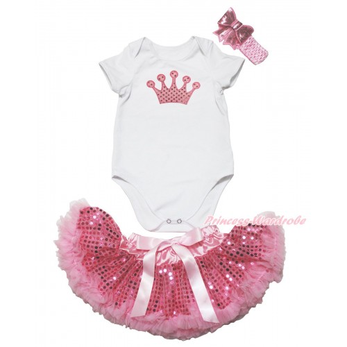 White Baby Jumpsuit & Sparkle Light Pink Crown Print & Sparkle Bling Light Pink Sequins Newborn Pettiskirt & Light Pink Headband Sequins Bow JN48