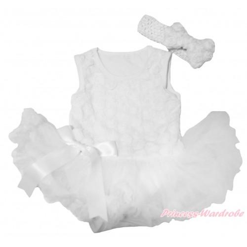 Valentine's Day White Romantic Rose Sleeveless Baby Bodysuit Pettiskirt & Bow & White Headband Rose Bow JS4262