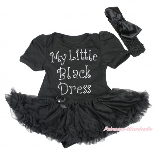 Black Baby Bodysuit Pettiskirt & Sparkle Rhinestone My Little Black Dress Print JS4303