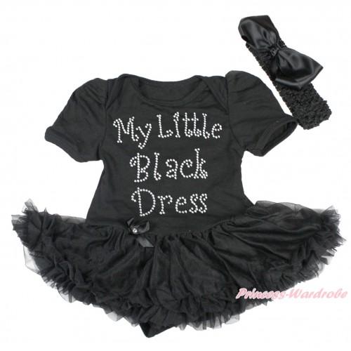 Black Baby Bodysuit Pettiskirt & Sparkle Rhinestone My Little Black Dress Print JS4303