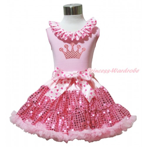 Light Pink Tank Top Light Hot Pink Heart Lacing & Sparkle Light Pink Crown Print & Bling Light Pink Sequins Pettiskirt M603