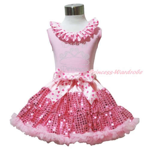 Valentine's Day Light Pink Tank Top Light Hot Pink Heart Lacing & Sparkle Rhinestone Daddy's Princess Print & Bling Light Pink Sequins Pettiskirt M605