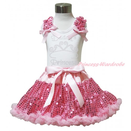 Valentine's Day White Tank Top Light Pink Sequins Ruffles Light Pink Bows & Sparkle Rhinestone Daddy's Princess Print & Bling Light Pink Sequins Pettiskirt MG1454
