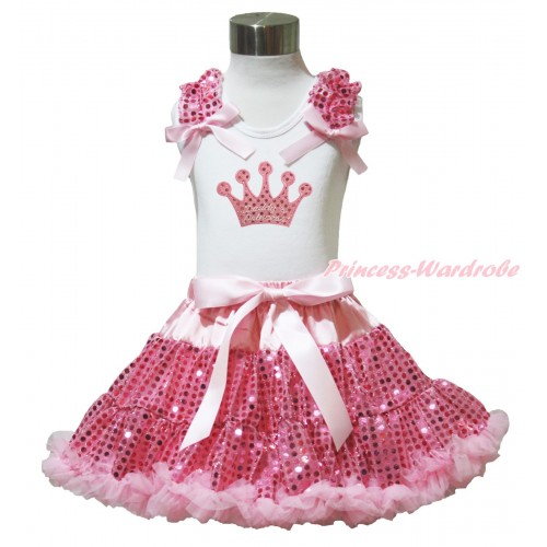 Valentine's Day White Tank Top Light Pink Sequins Ruffles Light Pink Bows & Sparkle Pink Daddy's Princess Crown Print & Bling Light Pink Sequins Pettiskirt MG1455