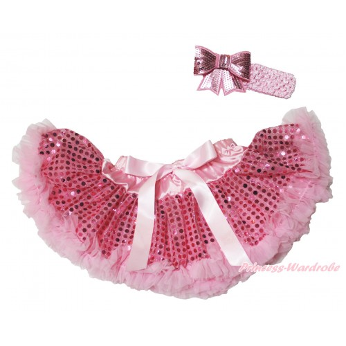 Light Pink Sparkle Bling Sequins Newborn Pettiskirt & Light Pink Headband Sequins Bow N242