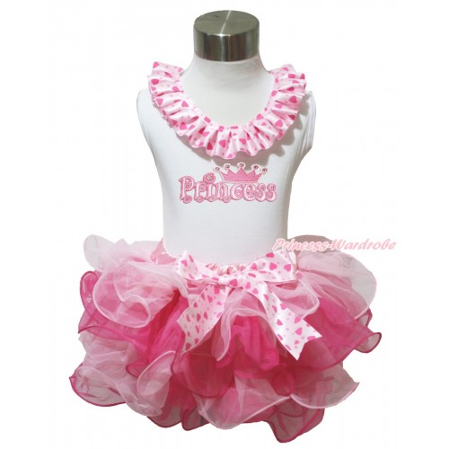 White Baby Pettitop Light Hot Pink Heart Lacing & Princess Print & Pink Heart Bow Light Hot Pink Petal Newborn Pettiskirt NG1641