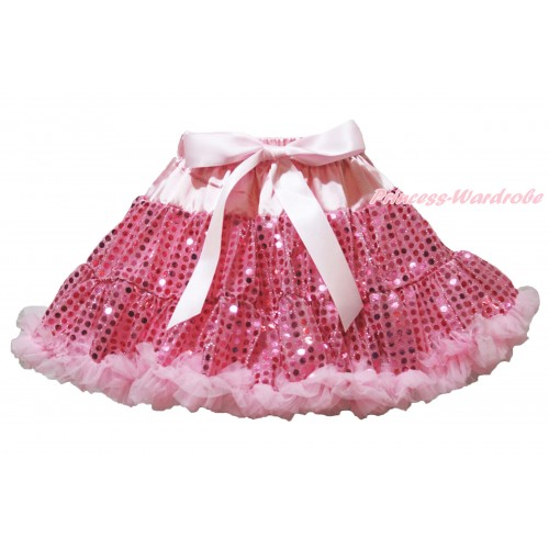 Sparkle Light Pink Bling Sequins Full Pettiskirt P196