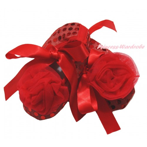 Hot Red Sparkle Bling Sequins & Red Ribbon Crib Shoes & Red Rosettes S650